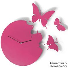 Butterfly Clock Fuchsia