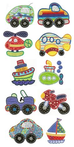 Embroidery | Free Machine Embroidery Designs | Getting Around Applique Set 2