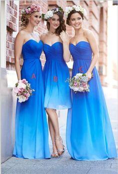 New Arrival Royal Blue Ombre Chiffon Long Bridesmaid Dress eb55b1f5e183