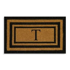 """Nature By Geo Crafts Imperial 18"""" X 30"""" Triple Border Letter """"t"""" Door Mat In Natural/black Natural/red Outdoor Rugs, Outdoor Living, Travel Wedding Gifts, Travel Gifts, Teen Bedroom Designs, Black Bedding, Border Design, Porch Decorating, Decorating Ideas"""
