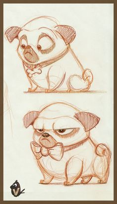 """Pug Studies, Vipin Jacob - """" Best Picture For color trends For Your Taste You are looking for something, and it is going t - Cartoon Dog Drawing, Cute Dog Drawing, Cute Animal Drawings, Animal Sketches, Art Drawings Sketches, Disney Drawings, Cartoon Art, Cute Drawings, Dog Drawings"""