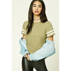 Forever21 Boxy Varsity-Stripe Tee ($8.90) ❤ liked on Polyvore featuring tops, t-shirts, embroidery t shirts, boxy t shirt, short sleeve tee, boxy tops and round neck t shirt