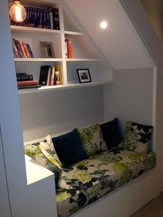 Cosy area built in under the stairs in basement - Contemporary - Hallway & Landing - London - by Ben Bater Carpentry & Joinery Attic Renovation, Attic Remodel, Under Stairs Nook, Contemporary Hallway, Stair Storage, Book Storage, Storage Shelves, Display Shelves, Storage Ideas