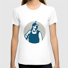 Pressure Washer Worker Circle Retro T-shirt. Illustration of a male pressure washing cleaner worker holding a water blaster on shoulder looking to the side viewed from front set inside circle on isolated background done in retro style. #illustration #PressureWasherWorker