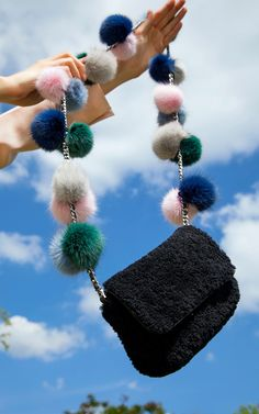 Fur Pom Pom Cross Body Bag by Charlotte Simone