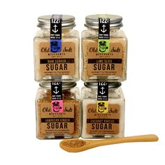 Sugar Trader 4 Pk With Spoon. I could definitely reuse those jars and love the spoon.