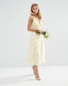 ASOS BRIDAL 3D Floral Scattered Cami Midi Dress