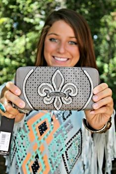 Miss Me Zip Around Wallet - Gray $44.00 #SouthernFriedChics