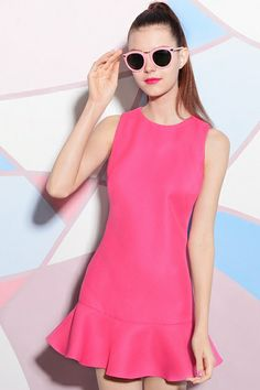 Sleeveless Falbala Rose A-line Dress - Fashion Clothing, Latest Street Fashion At Abaday.com