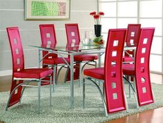 Los Feliz Contemporary Silver 7pc Dinette Set w/Red Chairs