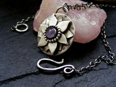 Silver Amethyst Lotus Flower pendant necklace Silver by dAgDesigns, £49.50