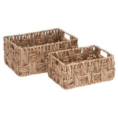 Corral jewelry atop your vanity or lotion and hand soap in the powder room with this lovely wicker basket set.   Product: Small...