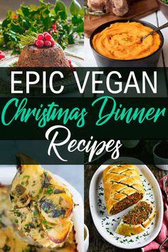 Epic Vegan Christmas Dinner Recipes - The Fiery Vegetarian Vegetarian Christmas Recipes, Spicy Vegetarian Recipes, Vegan Christmas Dinner, Easy Vegan Dinner, Vegetarian Thanksgiving, Veggie Dinner, Delicious Dinner Recipes, Holiday Dinner, Vegan Recipes Easy