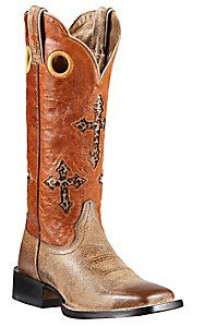 Ariat® Ranchero™ Women's Tumbled Tawny Brown w/Sunset Orange Cross Inlay Top Double Welt Square Toe Western Boots