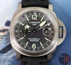 """""""Departing Ways!"""" #Panerai 44mm #Luminor GMT Titanium Ref#: PAM 89 * Anthracite Dial, E Series 2002 http://www.elementintime.com/Officine-Panerai-Luminor-GMT-E-Series-PAM-89-Titanium-Preowned"""