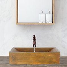 Vardaman Rectangular Cast Concrete Vessel Sink - Vintage Brown – Magnus Home Products Concrete Basin, Concrete Bathroom, Vessel Sink Bathroom, Pedestal Sink, Wood Countertops, Home Hardware, Bathroom Renovations, Kitchen And Bath, It Cast