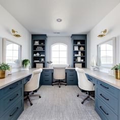 Multi-person office, Coastal Office decor ideas for 3 people with Teal Blue Lower Cabinets via @clarkandcohomes Home Office Space, Home Office Design, Home Office Decor, Home Decor, Office Ideas, Sunroom Office, Basement Office, Custom Home Builders, Custom Homes