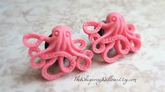 Octopus Plugs for Gauged Ears, Choose Your Color, Sizes 1/2 Inch, 7/16 Inch, 00, 0, 2, 4, 6, 8, 10, 12, 14 gauge,  Also For Pierced Ears. $24.99, via Etsy.