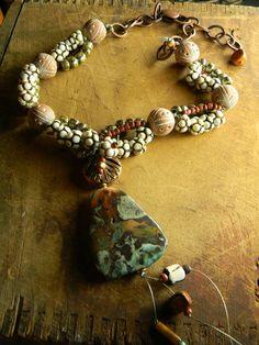 Jasper Statement Necklace Carved Bone Tribal by ChrysalisToo, $82.00