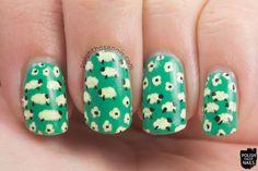 nails, nail art, nail polish, pattern, sheep, polish those nails