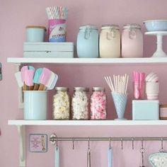 Home Improvement Ideas Kitchen Jars, Cute Kitchen, Kitchen Decor, Soft Colors, Pastel Colors, Casa Color Pastel, Retro, Small House Floor Plans, Pastel Kitchen