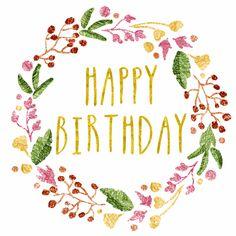 Happy Birthday kaart met geïllustreerde bloemenkrans in vrolijke kleuren, verkrijgbaar bij #kaartje2go voor €1,99