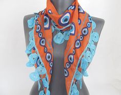 Orange Scarf   evil eye scarf   women cotton scarf   by ScarfsSale, $15.00