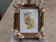 Beach Decor Coastal Home/ Rustic Barn Wood Frame with Sea Shells, Barnacles & Vintage Mermaid Print