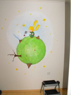 Le Petit Prince, acrylic on wall, i made this formy friends baby <3