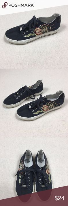 Harley Davidson Sz 8 Rose Daggar Sneakers Great condition. Slight fading and slouching but not rips or stains and wearing down of material. Bottom impressions look brand new. Harley-Davidson Shoes Sneakers