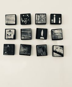 Jääkaappimagneetit  Puulevy + musta akryylimaali + lehdistä leikatut kuvat. Magneetti liimataan puulevyn taakse.