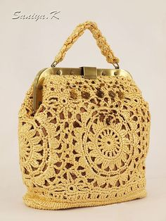 silk ribbons crochet bag