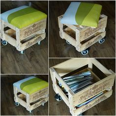 Hocker aus Bierkiste, Regal und Vorhang / Stool made of beer crate, shelf and curtain / Upcycling Mehr Old Wooden Boxes, Wooden Crates, Wood Pallets, Milk Crate Storage, Diy Storage, Crate Stools, New Swedish Design, Decoration Originale, Diy Coffee Table