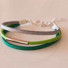 Bracelet cuir suedine vert argenté