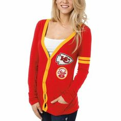 Kansas City Chiefs Ladies Slub Button-Up Long Sleeve Cardigan - Red