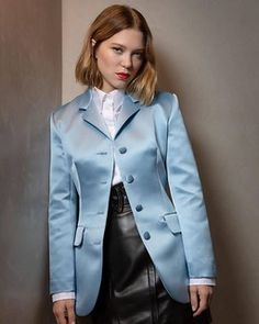 Léa Seydoux photographed in Cannes for Vanity Fair Italia, 05 June Sexy Blouse, Collar Blouse, Blouse Dress, Dress Shirts, Pretty Dresses, Sexy Dresses, Suits For Women, Clothes For Women, Leather Jacket Outfits