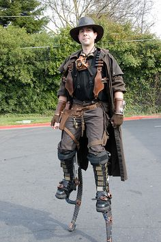steampunk stilt walking. featured in the steampunk Emporium. #steampunk