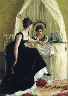 Vanity by Gustave-Leonard De Jonghe - Hand Painted Oil Painting Mirror Art, Mirror Image, Table Mirror, Jean Beraud, Elodie Frégé, Munier, Classical Art, Fine Art, Edgar Degas