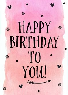 Happy Birthday - black font -  pink watercolor