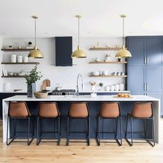 Home Interior Salas Orange leather counter stools make a statement in this stylish blue kitchen/Source: leclair decor web Interior Modern, Home Interior, Interior Design Kitchen, Home Design, Kitchen Designs, Modern Townhouse Interior, Coastal Interior, Modern Luxury, Home Decor Kitchen