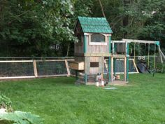 swingset turned chicken coop