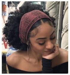 Cute Curly Hairstyles, Girls Natural Hairstyles, Baddie Hairstyles, Scarf Hairstyles, Black Girls Hairstyles, Hair Scarf Styles, Curly Hair Styles, Natural Hair Styles, Headwraps For Natural Hair