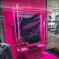 Giorgio Armani Briefcase Fluorescence – Fixtures Close Up Visual Merchandising, Briefcase, Giorgio Armani, Retail Displays, Purple, Color, Colour, Medical Bag, Briefcases