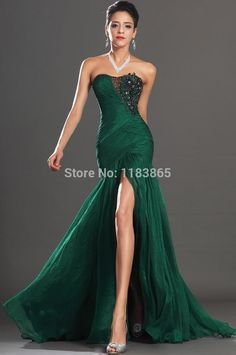 2014 New Arrival Gown Emerald Green Appliques Strapless Neck Side ...
