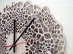 Giraffe clock - LARGE - laser cut wood - modern wall clock - voronoi pattern - wooden wall clock.