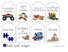 Nice idea for labeling our toy storage baskets, although we have some different categories, this idea is simple, slick & easy to amend to our needs. Toy Bin Labels, Basket Labels, Kids Labels, Playroom Storage, Kids Room Organization, Playroom Ideas, Toy Storage Baskets, Toy Bins, Organizing Labels