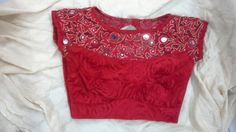 Velvet blouse with boat neck with mirror work on net 91 9866583602