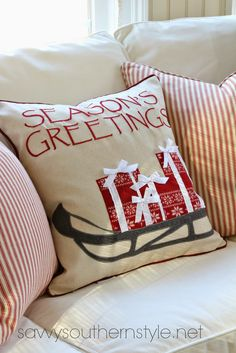 Want to collaborate with Bridgette to create this pillow cover and some coordinating ones for next year! Savvy Southern Style: Christmas Sunroom 2014
