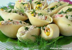 muszle-makaronowe-nadziewane-tunczykiem-przekaska-na-impreze4 Food Art For Kids, Polish Recipes, Coleslaw, Finger Foods, Catering, Vegan Recipes, Food And Drink, Appetizers, Tasty