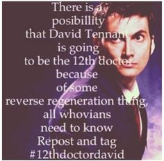 If only this was true....one can only hope,,,, #12thdoctordavid  that would be unbelievably  amazing!